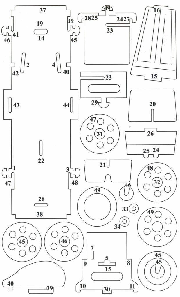 Схема сборки ретро автомобиля лист 2