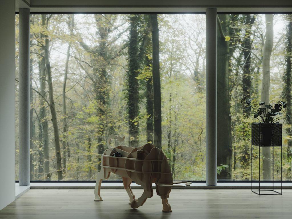 Полка в форме быка в интерьере